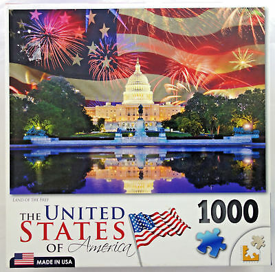 Land Of The Free United States Of America Usa Capitol Flag 1000 Pc Jigsaw Puzzle
