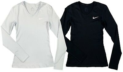 3b97271b Nike Womens Pro Dri-Fit Long Sleeve Swoosh Training Shirt Black/Grey New