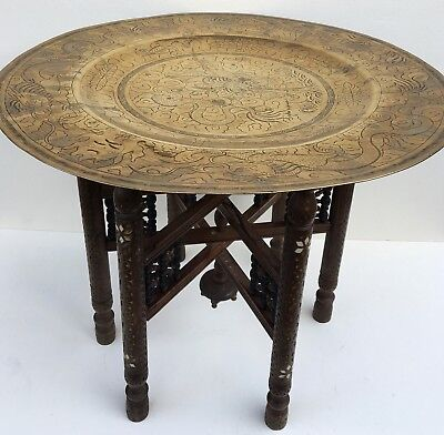 Vintage Benares Carved Folding Table With Brass Top
