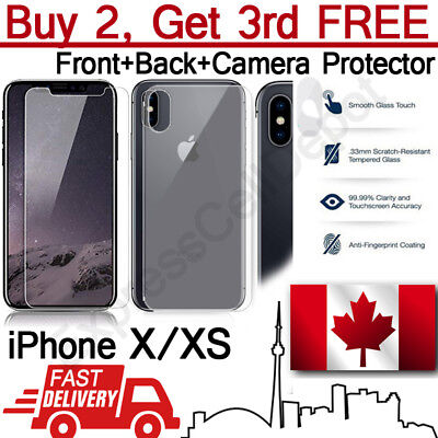 Premium Tempered Glass Screen, Back Glass, Camera Lens Protector for iPhone X XS
