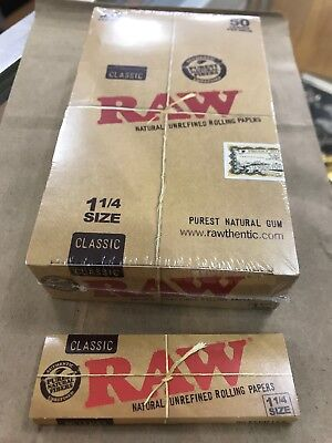"Authentic Raw Classic 1 1/4"" Rolling Papers 24 Packs Of 50 **Free Shipping**"