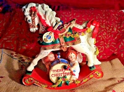 Christmas Victorian Rocking Horse & Two Angels Colorful Toys Charming Excellent!