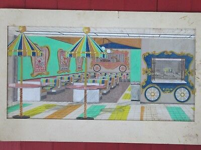 1950s Diner Interior Painting / Artwork - Ringling CIRCUS Theme Mall Restaurant