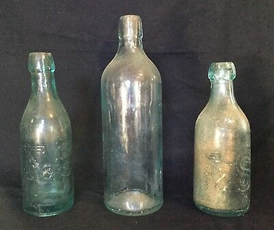Lot of 3 Vintage Antique Green Blue Glass Bottles F & S Reading PA Dr S B H Co
