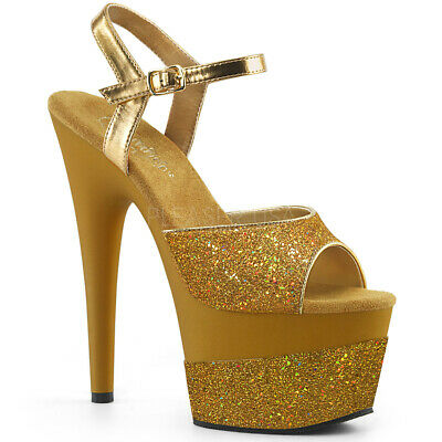 NEW QUPID HIGH Heels Shoes Size 7 Gold Glitter Open Toe