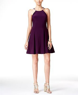 $385 Betsy & Adam Women Purple Embellished Fit & Flare Halter Gown Dress Size 10