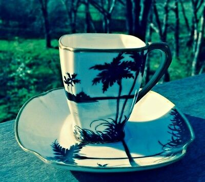 Antique Hand painted Nippon Demitasse or Teacup and Saucer- Black Palms
