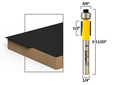 "1/2"" Height X 3/8"" Diameter Flush Trim Router Bit - 1/4"" Shank - Yonico 14144q"