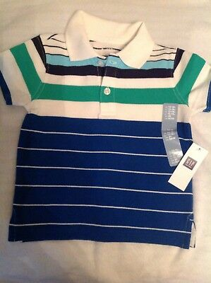 NEW WITH TAGS  age 12-18 months Baby GAP boys polo shirt blue green white 80cm