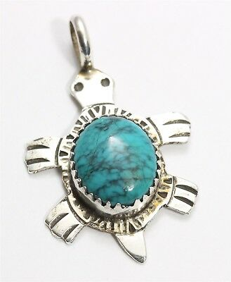 Vintage Navajo SIGNED Sterling Silver Stamped Spiderweb Turquoise Turtle Pendant