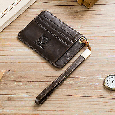 82e54b72f3991 Men Real Leather Slim Thin Credit Card Holder Mini Wallet ID Case Wallet  Brown