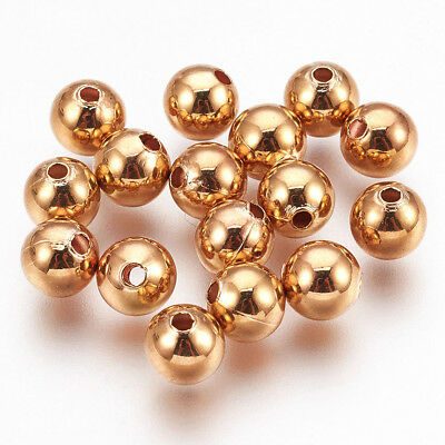 20pcs/Lot REAL GOLD Plated Round Brass Beads Spacers Seamless Bead 6mm Hole 1mm