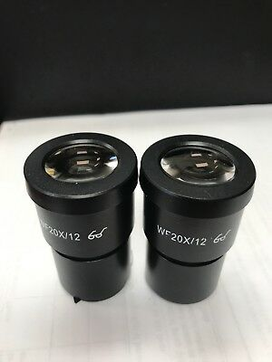 2PCS WF20X/12mm High Eyepiont Stereo Microscope Eyepiece Lens mounting size 30mm