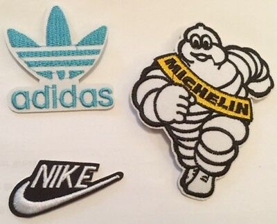 Embroidered BRAND NAMES NIKE ADIDAS MICHELIN MAN Badge Iron Sew On Patch B22