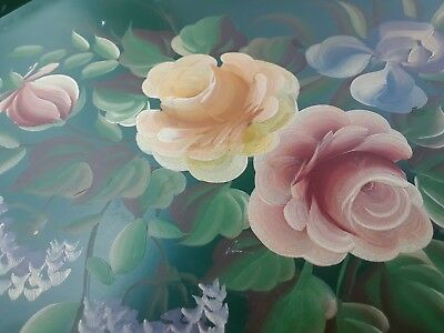 """Tole Metal Tray Flowers Green Hand Painted Roses Vintage Shabby Chic 18"""" Large"""
