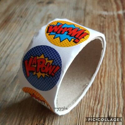 Superhero Merit Teacher Stickers Children's Kids Party Favours Student Rewards
