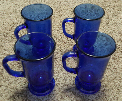 Set Of 4 Cobalt Blue Anchor Hocking Irish Coffee Mugs Pedestal Footed