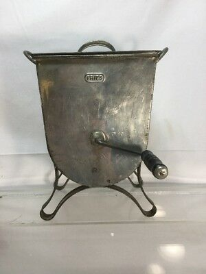 Antique Vintage Fries Tin Metal Butter Churn Mixer Hand Operated Wood Handle cl