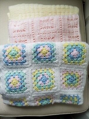 Lot Of 3 Hand Knit Baby Blankets