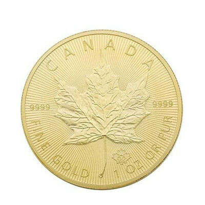 40mm 2015 Canadian Maple Leaf Iron Plated Gold Coin Old Coins Collection Gift