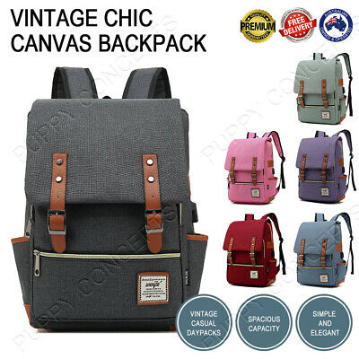 Men Women Vintage Chic Canvas Backpack Rucksack School Travel Laptop College Bag