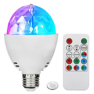 3W E27 Disco Ball Lamp RGB Rotating LED Sound Activated Party Strobe Lights