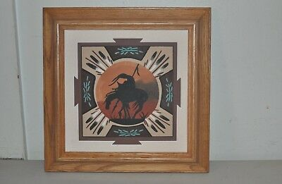 Authentic Navajo Sand Painting Framed End Of The Trail Signed