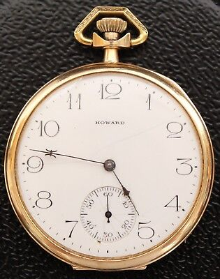 14K GOLD 585 FINE ANTIQUE E. HOWARD OPEN FACE POCKET WATCH STEM SET 17Js