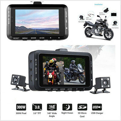 Motorcycle HD Action Camera Dual Lens LCD DVR Waterproof 1080P Video Recorder