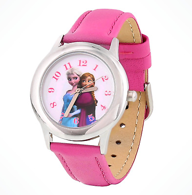 Walt Disney Parks Frozen Anna and Elsa Watch with Pink Leather Strap NEW