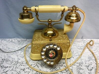 Vintage French Victorian Style Rotary Phone Very Ornate Brass Man Woman