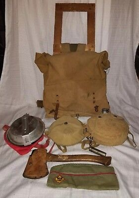 Vintage Boy Scouts of America BSA backpack, plumb hatchet, canteen collection