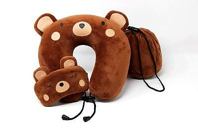 NEW Memory Foam Neck Travel Airplane Pillow  Kids Teddy Bear Eye Mask fast ship