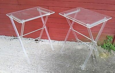 Pair Vintage Modern Lucite Mid-Century Tv Tray Stand End Table