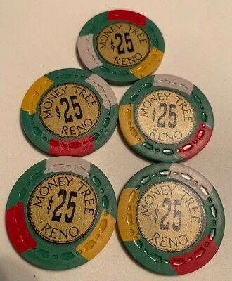 Money Tree $25 LOT OF 5 Casino Chips Reno Nevada 2.99 Shipping