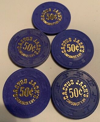 Cactus Jack's $.50 LOT OF 5 Casino Chips Carson City Nevada 2.99 Shipping