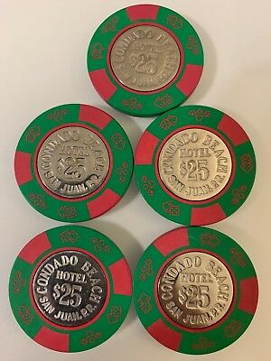 Condado Beach Lot of 5 $25 Casino Chip San Juan Puerto Rico 2.99 Shipping