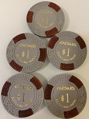 Caesars $1 LOT OF 5 Casino Chips Lake Tahoe Nevada 2.99 Shipping