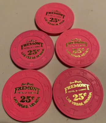 Sam Boyd's Fremont $.25 LOT OF 5 Casino Chips Las Vegas Nevada 2.99 Shipping