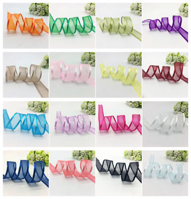 "New 5Yards 1""25mm Satin Edge Sheer Organza Ribbon Bow Craft Wedding Multi-Color"