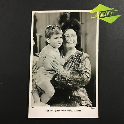 Vintage Tucks Postcard H.m The Queen Elizabeth & Young Prince Charles Postcard