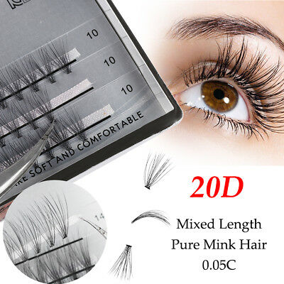 Individual 20D Premade Volume Lashes 0.05 Thickness False Eyelashes Extensions