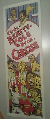 1960s Clyde Beatty Cole Bros  Circus Poster lion tamer