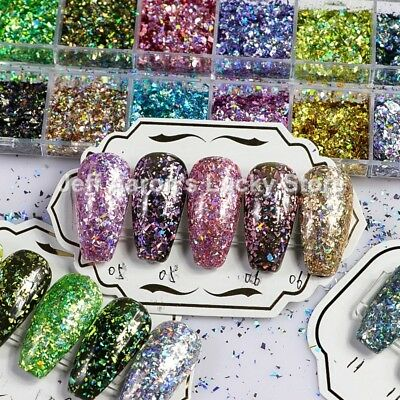 12 Colors Laser Nail Glitter Powder Sequins Decals For Nail Art Decorations CT