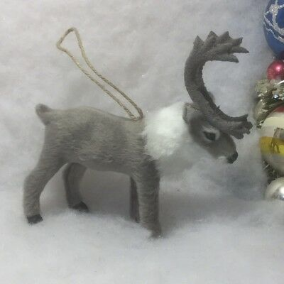 Santa's Reindeer Faux Fur Christmas Tree Ornament gray Deer, Antlers