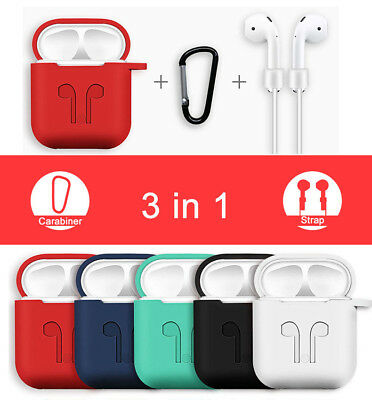 3in1 AirPods Silicone Case Cover Protective Skin for Apple Airpod Charging Case