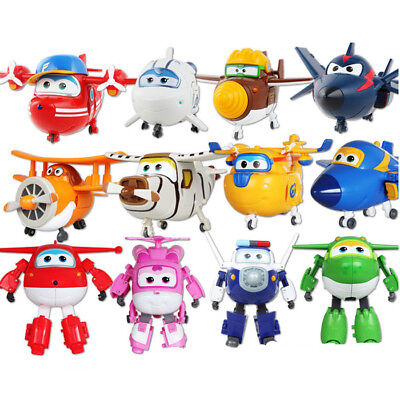 12pcs Animation Super Wings Airplane Transformable Robot Action Figures Toy Gift