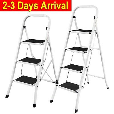 Heavy Duty 2 3 4 Steps Ladder With Safety Handrail Anti-Slip Rubber Mat Foldable