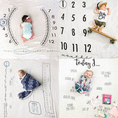 Newborn Baby Infants Milestone Blanket Mat Photography Prop Monthly Growth Photo