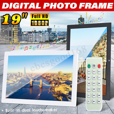 19'' 1080P HD Digital Music Photo Frame Picture Album Player Dispaly Remote UK